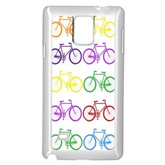 Rainbow Colors Bright Colorful Bicycles Wallpaper Background Samsung Galaxy Note 4 Case (White)