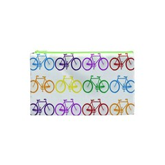 Rainbow Colors Bright Colorful Bicycles Wallpaper Background Cosmetic Bag (XS)