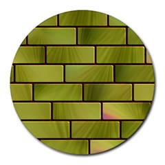 Modern Green Bricks Background Image Round Mousepads