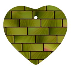 Modern Green Bricks Background Image Ornament (heart)
