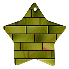 Modern Green Bricks Background Image Ornament (star)