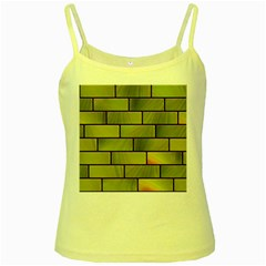Modern Green Bricks Background Image Yellow Spaghetti Tank