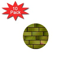 Modern Green Bricks Background Image 1  Mini Buttons (10 pack)