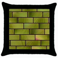 Modern Green Bricks Background Image Throw Pillow Case (black)