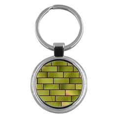 Modern Green Bricks Background Image Key Chains (Round)