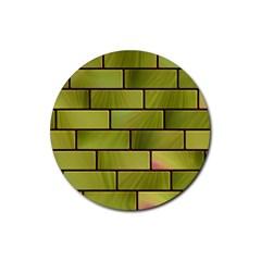 Modern Green Bricks Background Image Rubber Coaster (round)
