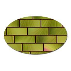 Modern Green Bricks Background Image Oval Magnet