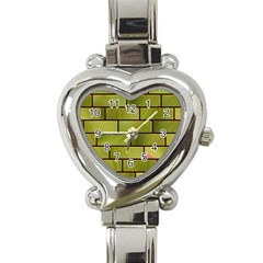 Modern Green Bricks Background Image Heart Italian Charm Watch