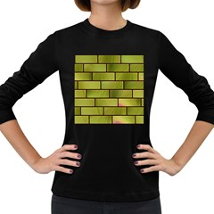 Modern Green Bricks Background Image Women s Long Sleeve Dark T Shirts