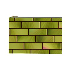 Modern Green Bricks Background Image Cosmetic Bag (large)