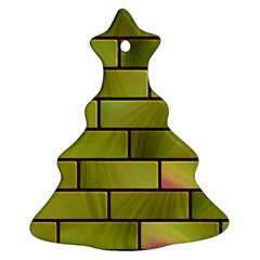 Modern Green Bricks Background Image Christmas Tree Ornament (Two Sides)