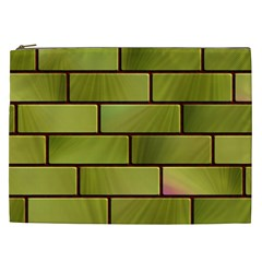 Modern Green Bricks Background Image Cosmetic Bag (XXL)