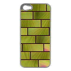 Modern Green Bricks Background Image Apple Iphone 5 Case (silver)