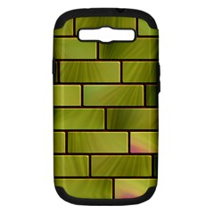 Modern Green Bricks Background Image Samsung Galaxy S III Hardshell Case (PC+Silicone)