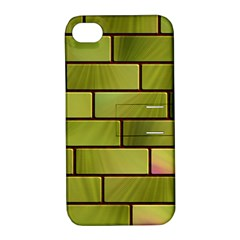 Modern Green Bricks Background Image Apple iPhone 4/4S Hardshell Case with Stand