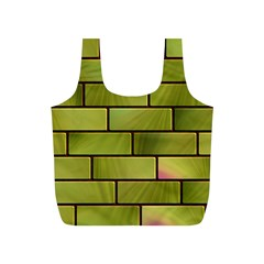 Modern Green Bricks Background Image Full Print Recycle Bags (S)