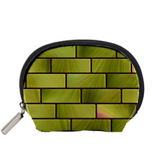 Modern Green Bricks Background Image Accessory Pouches (Small)