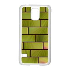 Modern Green Bricks Background Image Samsung Galaxy S5 Case (White)