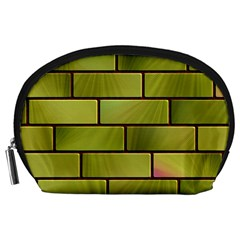 Modern Green Bricks Background Image Accessory Pouches (large)
