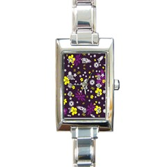 Flowers Floral Background Colorful Vintage Retro Busy Wallpaper Rectangle Italian Charm Watch