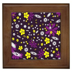 Flowers Floral Background Colorful Vintage Retro Busy Wallpaper Framed Tiles