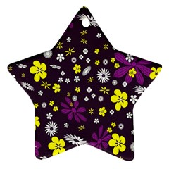 Flowers Floral Background Colorful Vintage Retro Busy Wallpaper Ornament (star)