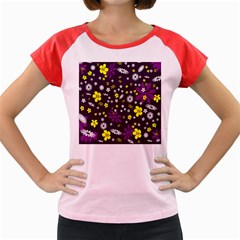 Flowers Floral Background Colorful Vintage Retro Busy Wallpaper Women s Cap Sleeve T-Shirt