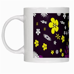 Flowers Floral Background Colorful Vintage Retro Busy Wallpaper White Mugs