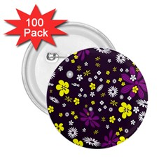 Flowers Floral Background Colorful Vintage Retro Busy Wallpaper 2.25  Buttons (100 pack)