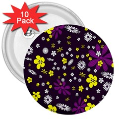 Flowers Floral Background Colorful Vintage Retro Busy Wallpaper 3  Buttons (10 Pack)