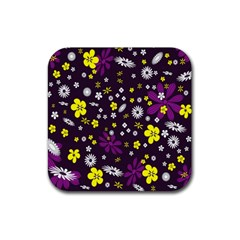 Flowers Floral Background Colorful Vintage Retro Busy Wallpaper Rubber Square Coaster (4 Pack)