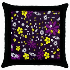 Flowers Floral Background Colorful Vintage Retro Busy Wallpaper Throw Pillow Case (Black)