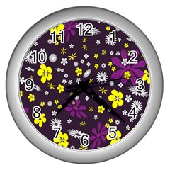 Flowers Floral Background Colorful Vintage Retro Busy Wallpaper Wall Clocks (Silver)