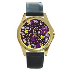 Flowers Floral Background Colorful Vintage Retro Busy Wallpaper Round Gold Metal Watch