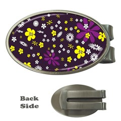 Flowers Floral Background Colorful Vintage Retro Busy Wallpaper Money Clips (oval)