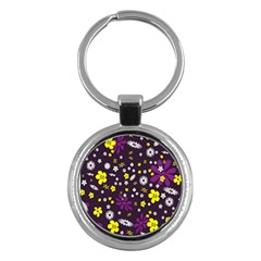 Flowers Floral Background Colorful Vintage Retro Busy Wallpaper Key Chains (round)
