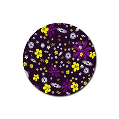 Flowers Floral Background Colorful Vintage Retro Busy Wallpaper Rubber Round Coaster (4 Pack)