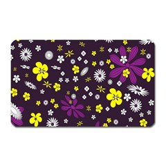 Flowers Floral Background Colorful Vintage Retro Busy Wallpaper Magnet (rectangular)