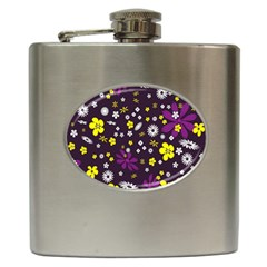 Flowers Floral Background Colorful Vintage Retro Busy Wallpaper Hip Flask (6 Oz)