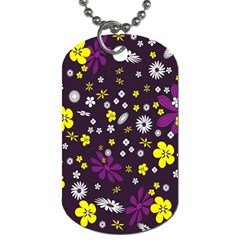 Flowers Floral Background Colorful Vintage Retro Busy Wallpaper Dog Tag (two Sides)