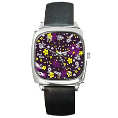 Flowers Floral Background Colorful Vintage Retro Busy Wallpaper Square Metal Watch