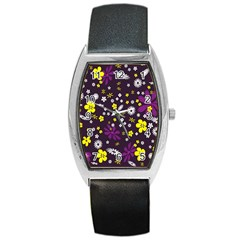 Flowers Floral Background Colorful Vintage Retro Busy Wallpaper Barrel Style Metal Watch