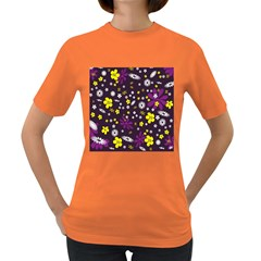 Flowers Floral Background Colorful Vintage Retro Busy Wallpaper Women s Dark T Shirt