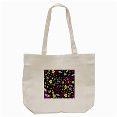 Flowers Floral Background Colorful Vintage Retro Busy Wallpaper Tote Bag (Cream)