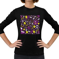 Flowers Floral Background Colorful Vintage Retro Busy Wallpaper Women s Long Sleeve Dark T Shirts