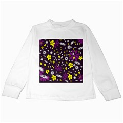 Flowers Floral Background Colorful Vintage Retro Busy Wallpaper Kids Long Sleeve T Shirts