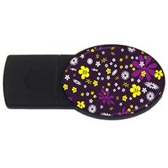 Flowers Floral Background Colorful Vintage Retro Busy Wallpaper USB Flash Drive Oval (4 GB)