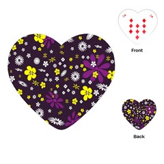 Flowers Floral Background Colorful Vintage Retro Busy Wallpaper Playing Cards (heart)