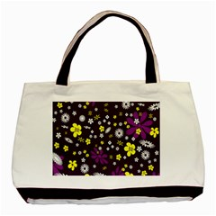 Flowers Floral Background Colorful Vintage Retro Busy Wallpaper Basic Tote Bag
