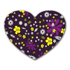 Flowers Floral Background Colorful Vintage Retro Busy Wallpaper Heart Mousepads